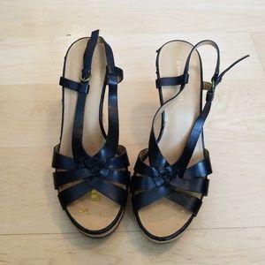 Bandolino Black Strap Peep Toe Wedge Shoes Heels